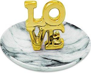 Prato de Cerâmica Porta Joias LOVE Dourado