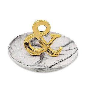 Prato de Cerâmica Porta Joias & Comercial Dourado