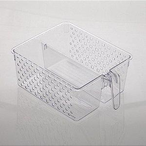 Cesto Organizador com Alça e Duas Divisorias Quadratta 34x26x14cm Cristal