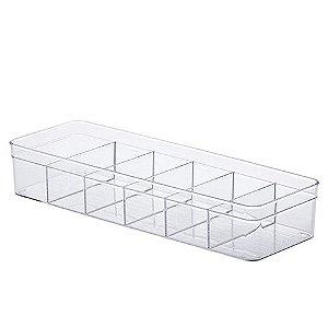 Organizador com Divisórias Diamond 40,5x13,5x7,5cm Cristal