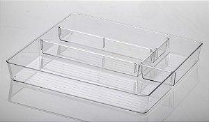 Organizador com Divisórias Diamond 39x34x5,5cm Cristal