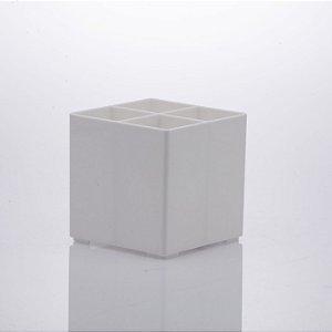 Organizador 4 Divisórias Expert 10x10x10cm Branco