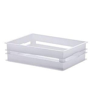 Caixote Organizador Empilhavel 41x30x11,5cm Branco