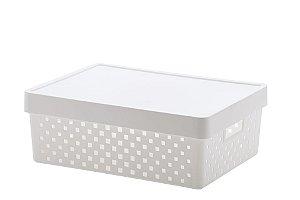 Cesto Organizador com Tampa Quadratta 39x29x14cm Branco