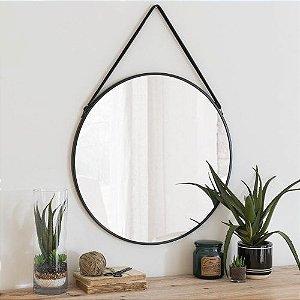 Espelho Redondo Parede Metal e Alça de Couro Preto 45cm
