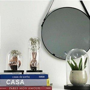 Espelho Redondo Parede Metal e Alça de Couro Preto 40cm