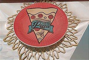 Prato Raso Pizza Vermelho 26cm