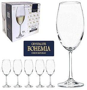 Jogo de 6 Taças Cristal Bohemia Crystalite Milvus Vinho Branco 400ml