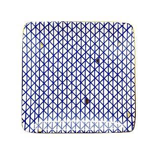 Mini Prato de Cerâmica Quadrado Pintado Azul Triângulos