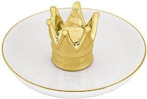 Prato de Cerâmica Porta Joias Coroa Dourada