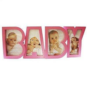 Porta Retrato Plastico Baby 4 Fotos Rosa