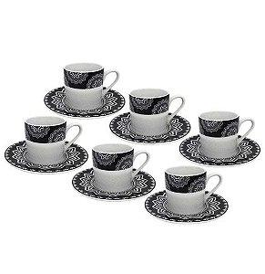 Jogo De 12 Xícaras de Café Porcelana Mandala 90ml