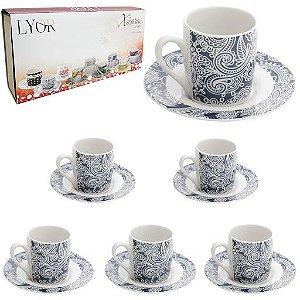 Jogo De 12 Xícaras de Café Porcelana Floral 90ml