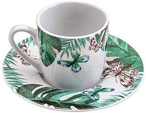 Jogo De 12 Xícaras de Café Porcelana Nature 90ml