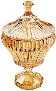 Potiche Decorativo Com Pé De Cristal De Chumbo Renaissance Ambar
