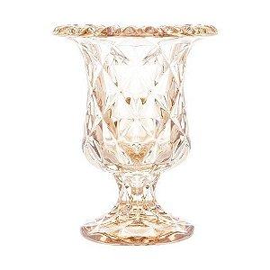 Vaso com Pé de Vidro Metalizado Reinassance  Lyor 15x24cm
