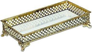 Bandeja Dourada Em Metal Com Espelho