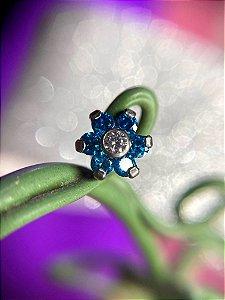 Labret em Aço Flor com Zircônia Azul