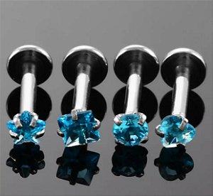 Labret em Aço Ponto de Luz Rosca Interna Bolinha - Azul-1.2/8/3mm