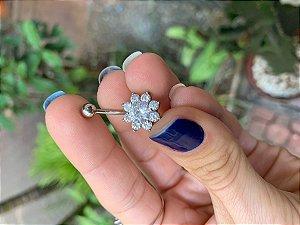 Piercing Umbigo Flor 8 Pétalas em Zircônias - Flor 12mm