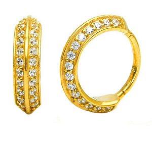Argola em Aço Clicker Articulado - Gold com Zircônias Cúbicas