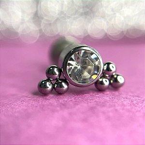 Labret indiano com Micro Esferas c/  Zircônia- 6mm