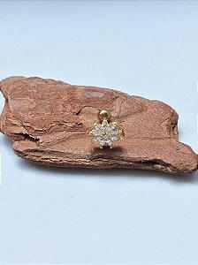 Piercing Flor Pétalas em Zircônias Gold