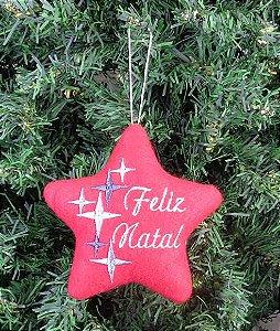 Enfeite de Natal estrela Feliz Natal