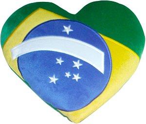 Almofada Bandeira do Brasil coração
