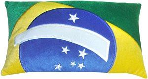 Almofada retangular Bandeira do Brasil - bordada