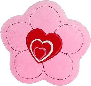 Almofada flor rosa com coração