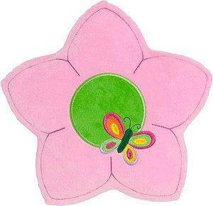 Almofada flor rosa com borboleta