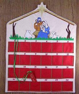 Enfeite de Natal calendário de advento presépio menino Jesus