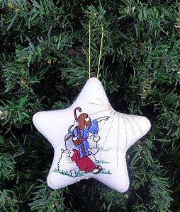 Enfeite de Natal estrela pastores presépio