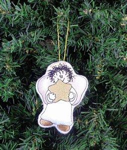 Enfeite de Natal anjo com estrela