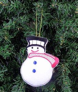 Enfeite de Natal boneco de neve chapéu preto