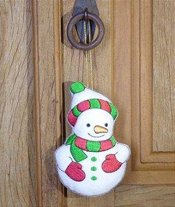 Enfeite de Natal Boneco de neve verde e vermelho