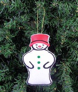 Enfeite de Natal Boneco de neve chapéu vermelho