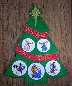 Enfeite de Natal pinheiro com presépio