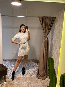 Vestido Kímika Curto Em Malha Tweed Off White / Tamanho: M