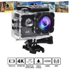 Câmera Filmadora Esportiva a Prova D'água 30m 4K-Ultra HD Wi-Fi LCD 2.0 - C/Preta