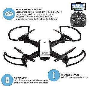 Drone Hawk Câmera HD 1280p GPS -  Controle Remoto - Alcance 150m PFV - Multilaser ES257