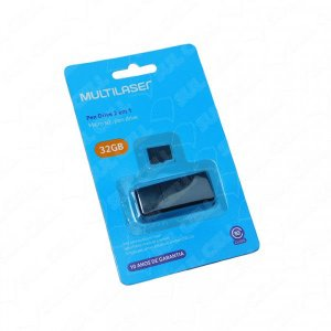 Cartão de Memoria (Pen Drive) 32GB Classe 10 e Adaptador Multilaser - MC163