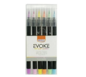 Brush Pen 6 cores Pastéis Aquarelável