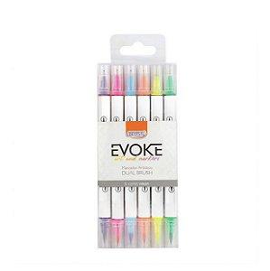 Brush Pen 6 cores Neon Dual