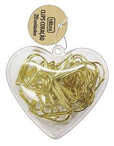 Clips Coração Dourado Pote com 20 unidades Tilibra