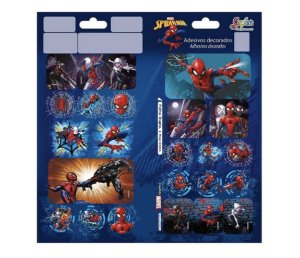 Cartela de Adesivos Folha Dupla Spider Man