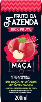 SUCO DE MAÇA 100% FRUTO DA FAZENDA 200ML - SUPERBOM