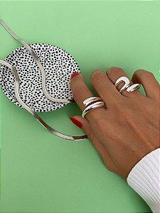 Conjunto de Anéis Prata