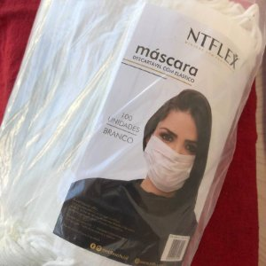 Mascara Branca Dercartavel c/ Elastico 100und NTFLEX
